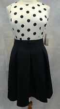 NEW NWT $158 Eliza J Nordstrom Sleeveless Shift Dress Black Ivory Polka Dot 16