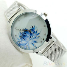 Women's Fashion Blue Lotus Stainless Steel Band Mesh Quartz Wrist Watch Little
