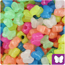 Color Choice 250 Glow 13mm Butterfly Shaped Plastic Pony Beads Made in the USA