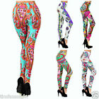 "GYPSY PAISLEY & ROSES LEGGINGS DESIGNER QUALITY BOHO VIBRANT 28.5"" 5 COLORS"