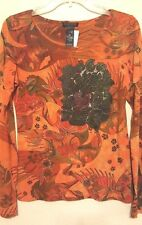 CUSTO BARCELONA Burnout Appliqued Birds-Flowers Silky Knit Top Tee Large L (4)