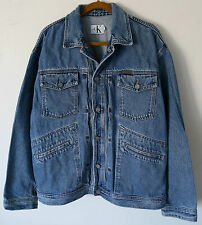 Vtg 90s CK CALVIN KLEIN *Made in USA* Blue Denim Trucker Jeans Jacket Men's L