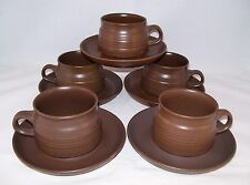 Denby Langley Pottery Mayflower 5 Cup & Saucer Sets England Retro Vintage Ret.