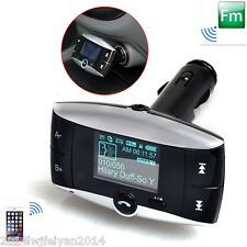 """1.5"""" LCD Bluetooth Car Kit Handsfree FM Transmitter MP3 Player USB Charger & AUX"""