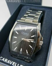 caravelle by bulova black dial men's watch new square 42x38mm