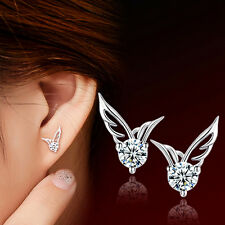 Cute Angel Wings CZ Ear Studs Earrings Women's Sweet Silver Plated Jewelry Gift