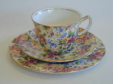 Rare Original Royal Winton Grimwades  'Cheadle' chintz trio ,very good condition