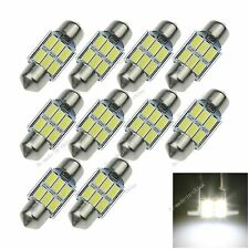 10X White 31MM 6 5730 Canbus Error Free Festoon Dome LED Light Bulb DE3425 I018