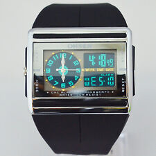 OHSEN Digital Analog Dual mens Black Rubber Light AL Luxury Sports WristWatches
