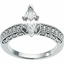 1 ct total 0.72 ct Marquise cut Diamond Engagement 14k White Gold Ring, G Color