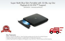 New LG WP40 Slim External Portable Burner Blu-ray M-Disc MP3 DVD CD 3D Writer
