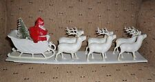 Vintage Santa Claus with Sleigh and 6 Plastic Reindeer - 15 inches