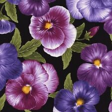 Medium Viola Floral Cotton Quilt Fabric by Timeless Treasures Purple Lavender