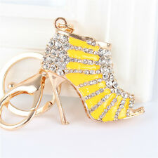 Yellow High Heels Shoe Crystal Pendant Charm Purse Bag Key Chain Girl Friend Gif