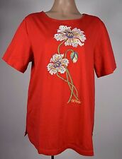 BOB MACKIE Wearable Art RED Embroidered Flower Spring Short sleeve Top Blouse L