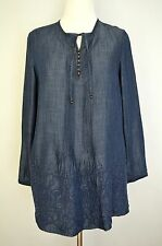 COLDWATER CREEK Silky Denim Embroidered BLOUSE SHIRT sz M 10 12 P peasant poet