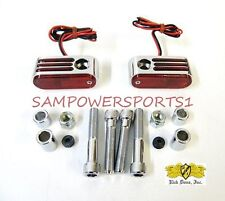DOSS CUSTOM CHROME REAR RED MARKER PASSING LIGHTS SET FOR HARLEY DUAL FILAMENT