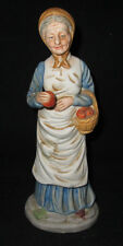 "Old Woman with basket offering apple Bisque Porcelain 7 3/4"" tall"