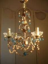 ~~ vintage french beaded chandelier blue opaline drops ~~