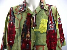 Hawaiian Shirt Tiki Mask Print Box Office Island Silky Aloha Shirt Mens Large