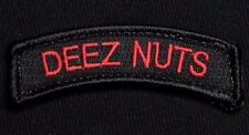 DEEZ NUTS TAB ARMY USA ISAF BLACK OPS RED VELCRO® BRAND FASTENER MORALE PATCH