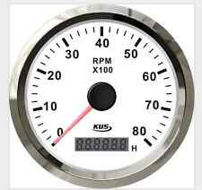 White steel tachometer 80RPM 85mm 8KL for car marine boat gasoline engine REV