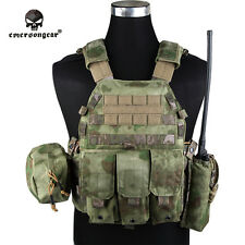 EMERSON LBT6094A Style Tactical Plate Carrier Vest w/ 3 Pouch 1000D AT/FG E7440G