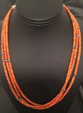 Native American Sterling Silver Sponge Coral Bead Necklace 18 Inches