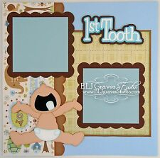CraftEcafe Premade Scrapbook Page First Tooth Baby Boy BLJgraves 58