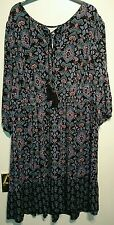 Monsoon jenna robe folk vintage boho noir multi uk 10 bnwt