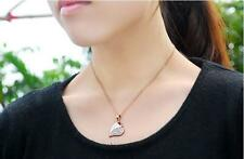"""Rose Gold Plated Heart Cubic Zirconia CZ Crystal Pendant Necklace Gift 18.1"""""""