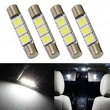4 x Xenon White 3-SMD 6641 LED Bulb For Car Sun Visor Vanity Mirror Fuse Lights