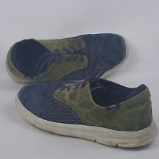 Vans Men's 10 Med Denim Suede Green Camo Navy Blue White Sneakers Shoes Preowned