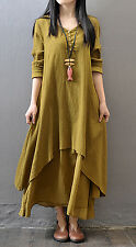 Kaftan Abaya Jilbab Maxi Dress Cocktail Islamic Muslim Loose Women Girls yellow
