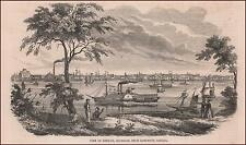 DETROIT, MICHIGAN, CITY VIEW FROM SANDWICH, CANADA, antique engraving 1853