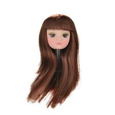 1X tête de poupée avec blonds longs cheveux diy accessoires pour poupée barbie baby toy fg