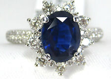 BLUE Sapphire Ring Halo Diamond 2.65ct 14K White gold GIA Certified App $8,926