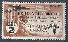 1934 CIRENAICA POSTA AEREA ROMA BUENOS AYRES 2 LIRE MH * - RR12008