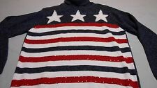 Womens sweater STARS AND STRIPES RED WHITE BLUE small TIARA INTL USA cowel