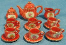15pc Red Tea Set, Dolls House Miniatures Kitchen Accessory Dining