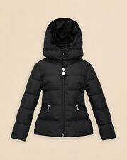 NEW $525 Moncler Girls AUBETTE Black Down Puffer Jacket Parka, Sz 6A /116cm