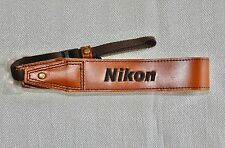 NIKON LEATHER BROWN SHOULDER NECK STRAP (EMBROIDERED) FOR NIKON DSLR CAMERA NEW