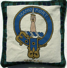 Cushion Mackay  Scottish Clan Needlepoint Pillow Handmade Scotland Tartan