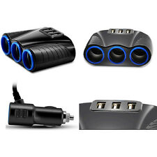 Car Cigarette Lighter Socket Splitter 3-Way USB Charger Adapter DC 12V JMHG