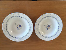 """Mikasa Forget-me-not  2 Rimmed Soup Bowls  Classic Elegance  Blue Flowers 9 1/4"""""""