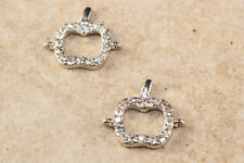 4pc Silver Apple Connector Charms 1-3day shipping