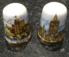 Pair Of Caverswall Thimble Truro Cathedral And Windsor Castle