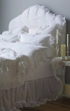 PIUBELLE PIU BELLE Portugal 3pc Shabby French RUFFLED White Duvet Set - QUEEN