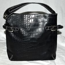 Tommy Hilfiger Black Croc Embossed Faux Leather 3 Sectional Shoulder Bag NWOT
