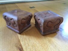 Vintage Pair Hand Carved Cherry Wood Bed Post Finials